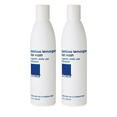 LATHER Bamboo Lemongrass Hair Wash, 2 Pack of 8 Oz Bottles – Gentle, Daily Moisturizing Shampoo Revitalizes Hair with Bamboo Stem Extract, while Imparting the Invigorating Essence of Lemongrass (Lemongrass Moisturizing Shampoo)