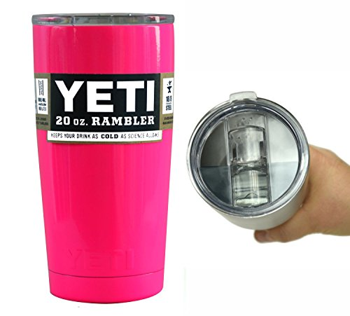 YETI Coolers 20 Ounce (20oz) (20 oz) Custom Rambler Tumbler Cup Mug with Exclusive Spill Resistant Lid and Bottle Opener Keychain (Neon Hot Pink)