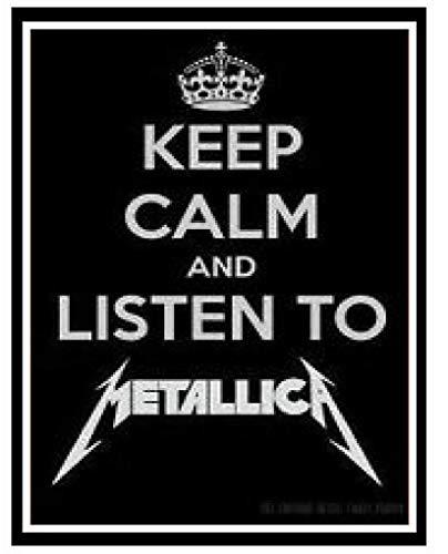 Stevenca Metal Tin Sign Metallica (Heavy Metal Rock Band) Funny Keep Calm Plaque Gift Aluminum Metal Sign for Wall Decor 7.8x11.8 Inch