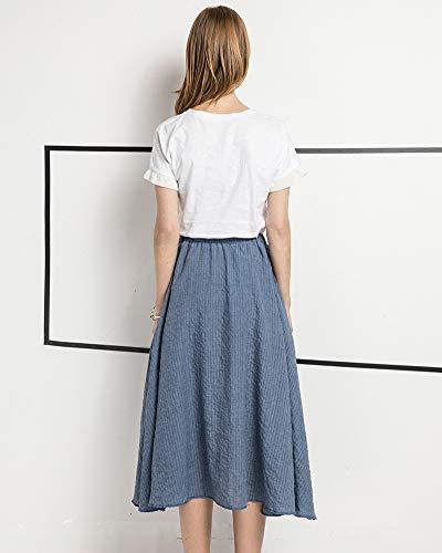 Longue de Taille Jupe Haute Pur Robe Casual Couleur Robes Jupes Bleu Et Femme Plage 1wqpxaW6nH