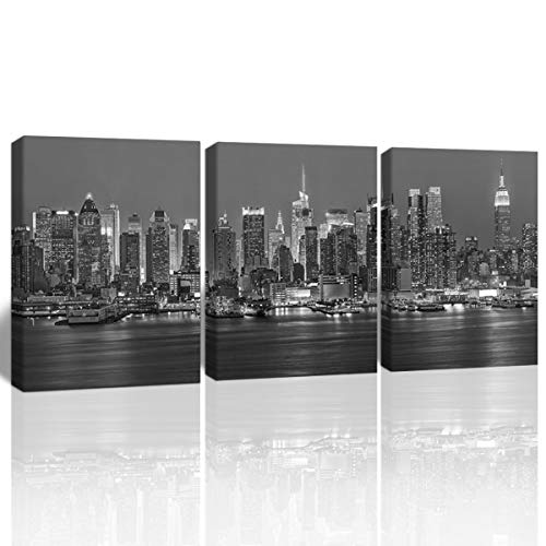 Gardenia Art Black and White Picture New York City Manhattan Midtown Buildings Home Decoration Bathroom Living Room bar Accessories and Decor Stretched and Framed 12x16 in 3 PCS (Apartments In New York City Manhattan For Sale)