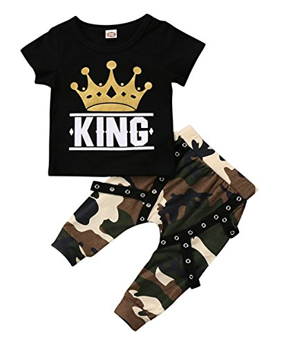 KONIGHT Toddler Baby Boy Clothes King Short Sleeve Black T-Shirt +Camo Pants Outfits Tops Set (Black, 0-6 -