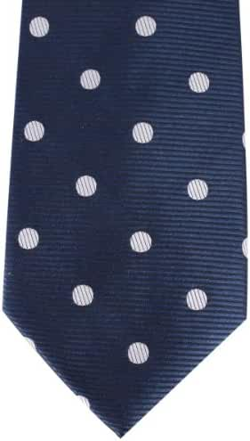 Navy/White Ribbed Polka Dot Tie by David Van Hagen