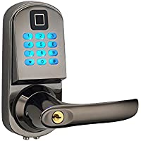 HAIFUAN Right Hand Electronic Keyless Fingerprint Door Lock,Unlock With Code, Fingerprint, And Mechanical Key (HFAS200FV-R)