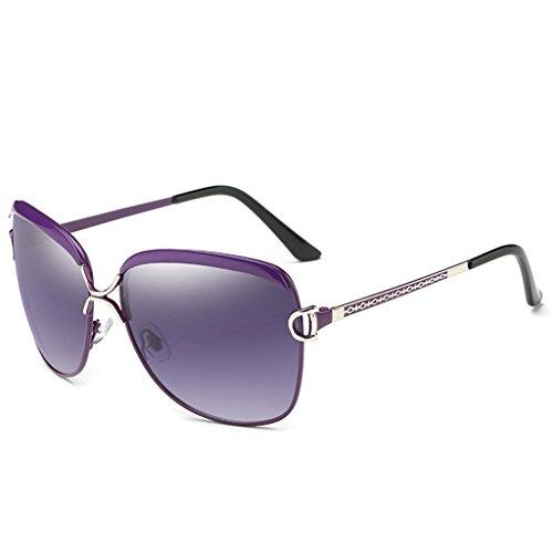 Gafas la Manera Estilo polarizado Calle Color Mujeres Brown de con 64mm Mujer sol Gafas de Purple Wayfarer Retro polarizadas PY4qPprzn
