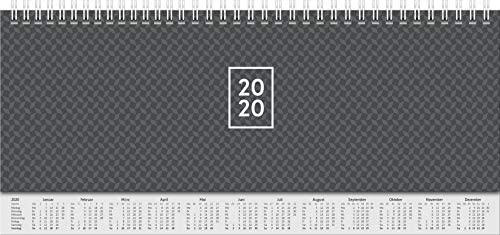 BRUNNEN 107726290 Wochen-/Tischkalender, 2020 (Modell 772, 2 Seiten = 1 Woche, 29,7 x 10,5 cm, Blattgröße 29,7 x 10,5 cm, Karton-Einband mit verlängerter Rückwand) schwarz