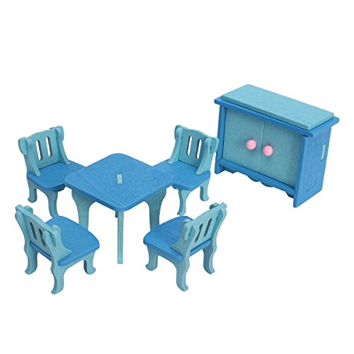 HITSAN 4 Sets of Delicate Wood Dollhouse Furniture Kits for Doll House Miniature One Piece by HITSAN (Image #1)