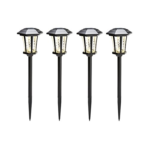 Water Glass Solar Path Lights, Set of 4, Black Metal Finish, Warm White LEDs, Traditional Design, Waterproof, Batteries Included by LampLust