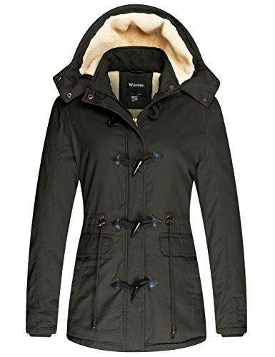 Shearling Toggle Jacket (wantdo Women's Winter Thicken Jacket Cotton Coat With Removable Hood (Army Green, US S))