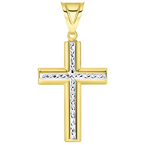 14k Yellow Gold Latin Textured Inlay Two Tone Cross Pendant