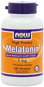 NOW Foods Melatonin 5mg Vcaps, 180 Capsules