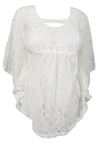 (eVogues Plus Size Sheer Crochet Floral Lace Poncho Top Off White - 3X)