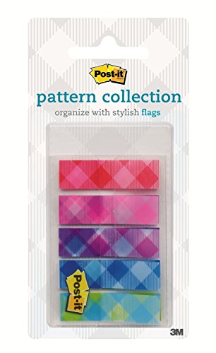 Post-it Color Mixing Flags, Gingham Pattern Collection, 1/2 in x 1.7 in, 100 Flag/On-The-Go Dispenser (683-PLAID1)