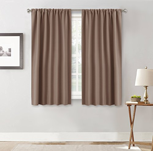 RYB HOME Blackout Curtains Window Shades Covering Slot Rod Pocket Heavy Thermal Insulated Curtains Repel Summer Heat and Winter Cold for Shift Worker/Nursery, W 42 x L 54 inch, Mocha, 2 Panels