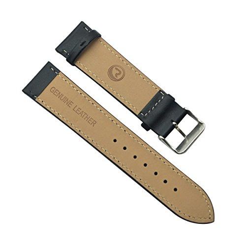 22mm Men's Vintage Regular Replacement Genuine Leather Silver Buckle Watch Strap/Watch Band (Black Stitch/Black)