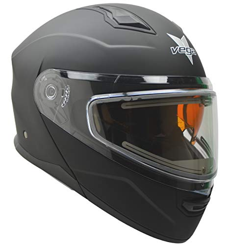 Vega Helmets Unisex-Adult Modular Caldera Electric Snow Snowmobile Helmet with 30% Larger Shield and Sunshield (Matte Black, X-Large) (Vega Helmet Shields)