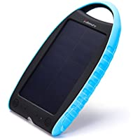 Solar Charger,Juboury 7000mAh Solar Power Bank Dual USB Port Portable Charger,3-proofing Design(Waterproof,Dust-Proof and Shock-Resistant)Solar Battery Charger for iPhone,iPad,Cell Phone,Camera(Blue)
