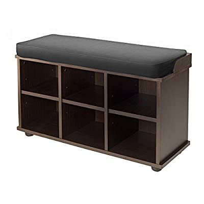 Winsome Townsend Bench with Cushion - Made of solid and composite wood in espresso 2 in. thick foam cushion covered with black fabric Under seating has 6 storage cubbies to store shoes - entryway-furniture-decor, entryway-laundry-room, benches - 41lRgSJMWwL. SS400  -