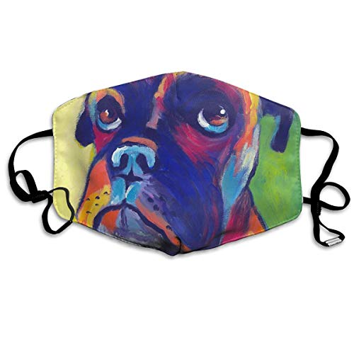 Mouth Mask Earloop Face Masks Comfort Polyester Breathable Mask - Animal Boxer Dog Adjustable Elastic Strap Windproof Mouth-Muffle, Reusable & Washable, Anti Flu