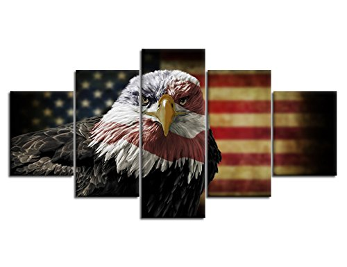 5 Piece American Flag Eagle Hawk Decorative Wall Art Oil Painting on Canvas Modern Artwork 5 Panels Stretched and Framed for Home Bedroom Living Room Office Decor and housewarming gift(50''W x (Poster Canvas Art Painting)