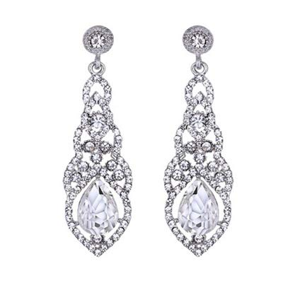Teardrop Blue White Champagne Zircon Wedding Long Dangle Earrings Elegant Bridal Wedding Engagement Jewelry Accessories
