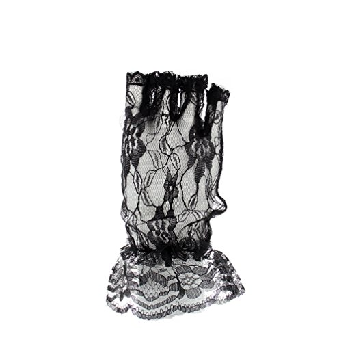 Zac's Alter Ego Women's 80S Style Short Lace Fingerless Gloves With Cuff Adult Black