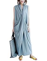 Yesno QA3 Women Long Dress Top Design Elegant Sexy 'V' Collar Big Pocket 100% Cotton