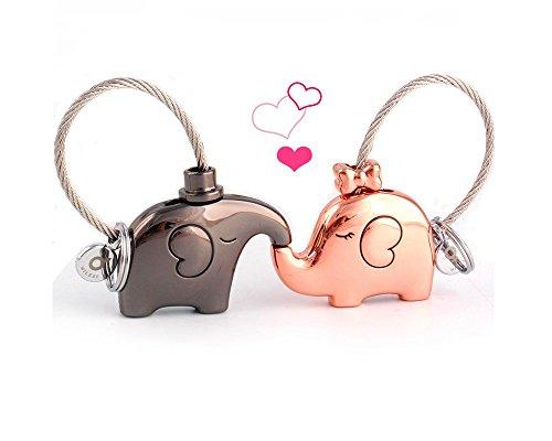 MILESI Original Fantastic Kissing Elephant Couples Keychain Valentine (Mascot Key Ring)