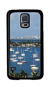Samsung Galaxy S5 Case, S5 Cases - Port Of Miami City Full Of Vessels Ultimate Protection Scratch Proof Soft TPU Rubber Bumper Case for Samsung Galaxy S5 I9600 Black