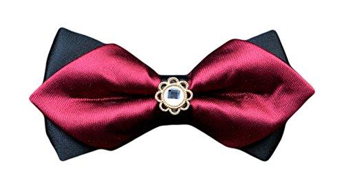 Layer Ties MENDENG Wedding Bow Double Tuxedo Tie Burgundy Men's Dress Party 1qwZTq