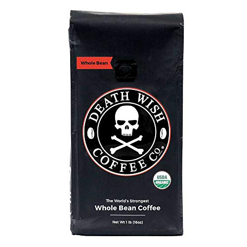 Death Wish Organic USDA Certified Whole Bean Coffee, 16 Ounce -