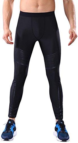 IyMoo Men's Pro Warm Compression Lite Tights Black Large