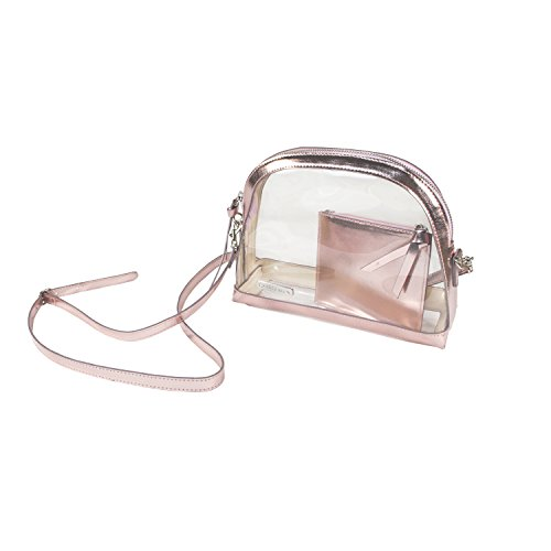 Capri Designs Clear Half Moon Crossbody Bag/NFL Stadium Approved (Rose Gold)