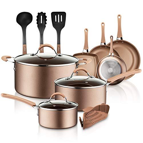 NutriChef PTFE/PFOA/PFOS 14-Piece Nonstick Cookware Set, w/Saucepan, Frying, Cooking Pots, Dutch Oven Pot, Lids, Utensil…