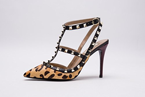 Nude Leather Slingback Heel High Kaitlyn Pan Leopard Studs Stilettos Trim Strappy Pumps Pointed Sandals Fur Gold Studded Toe w6wqC8