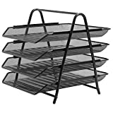 Abaj 4 Tier Mesh Document/Paper Tray, Desk Organizer (Black)