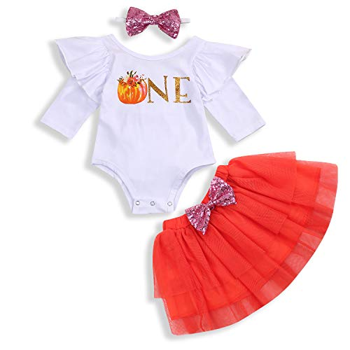 Best Outfits For Girls (Infant Baby Girl Outfits 1st Birthday Pumpkin Long Sleeve Romper Top Ruffle Tulle Tutu Skirt Headband 3pcs Clothes Set (One, 18)