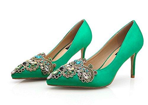 YCMDM DONNA verdi del diamante scarpe da sposa cinese Tacchi alti scarpe da sposa di Cheongsam Shoes , green 6cm , 33
