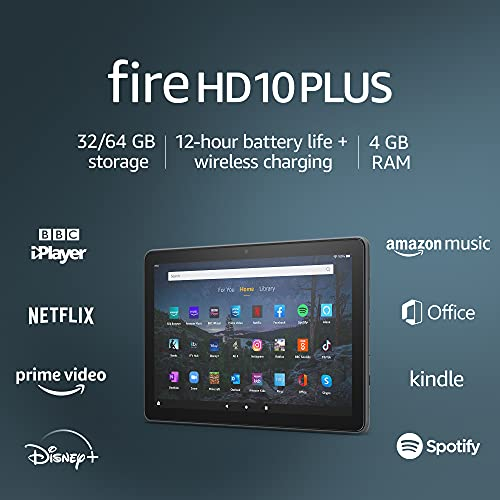 New: Fire HD 10 Plus tablet | 10.1″, 1080p Full HD, 32 GB | Slate – without Ads
