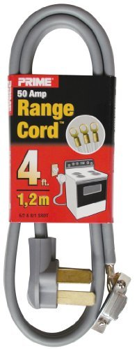 Prime RD628104 3-Pole 3-Wire SRDT 50A 125/250-Volt Range Cord, Gray, 4-Feet by Prime Wire and Cable (50a 3 Wire Range Cords)