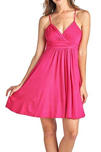 Beachcoco Women's Sweetheart Short Dress (L, Hot - Heart Pink Dress