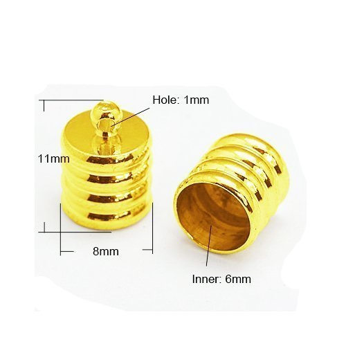 (Pack Of 20 x Golden Plated Brass 8mm Kumihimo Ribbed End Caps - (HA03240) - Charming Beads)