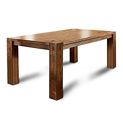 Furniture of America Maynard Wooden Dining Table - Transitional style inspired dining table Spacious table top on bold block legs Finished in dark oak for natural appeal - kitchen-dining-room-furniture, kitchen-dining-room, kitchen-dining-room-tables - 41lRipf4dBL. SS400  -