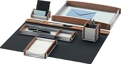 Rumold 968910 set di 6 accessori per scrivania faggio argento
