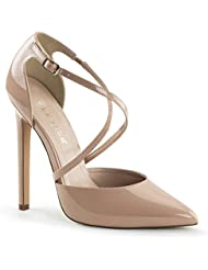 Summitfashions Womens Nude Pumps Shoes with Criss Cross Straps and 5 Inch Single Sole Heels