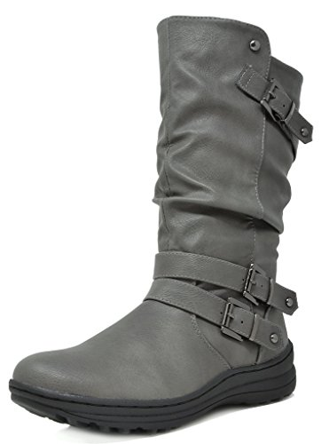 Lined Boots Faux Fur - DREAM PAIRS Women's New Moscow Grey Faux Fur Lined Mid Calf Winter Snow Boots Size 6 B(M) US