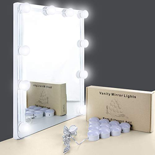 (Mirror Lights, UNIFUN Hollywood Style LED Makeup Mirror Lights with 10 Dimmable Bulbs, USB Powered Flexible Lighting Fixture for Bathroom, Makeup Dressing Table (Mirror Not Include))
