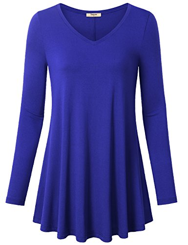 Tunic Tops,Timeson Feminine Touch Women's V-Neck Long Sleeve Shirt Flowy A-Line Casual Womens Workout Stretch Knit Basic Comfy Swing Blouse Colorful Blue X-Large