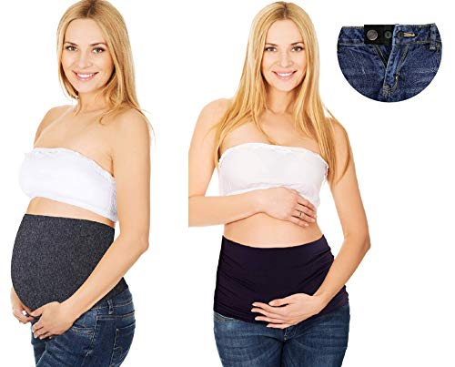 Bamboo Belly Band with Waist Extenders for All Stages of Pregnancy