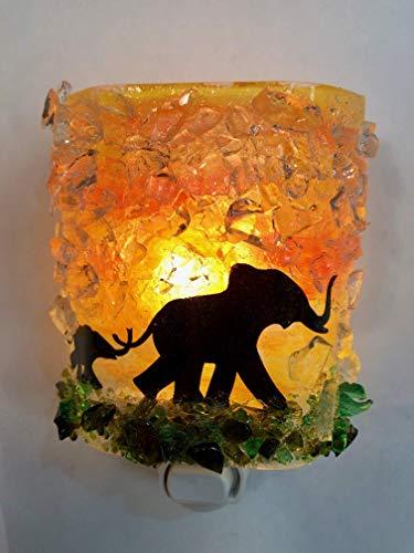 (Mom Baby Elephants Serengeti Sunset Safari Fused Recycled Glass Art Night Light Nightlight Nitelite)